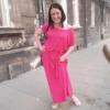 Długa Różowa Sukienka Mocy Anna Protas